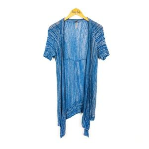 Free People Short Sleeve Blue Open Front Cardigan